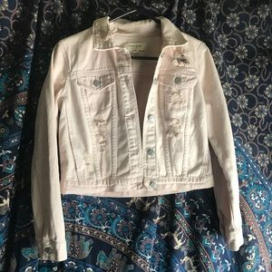 Pacsun Distressed Crop Pink Denim Jacket